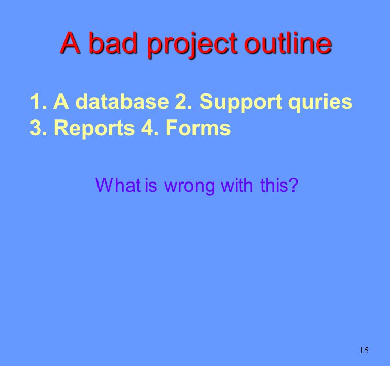 15 A bad project outline 1. A database 2. Support quries 3.