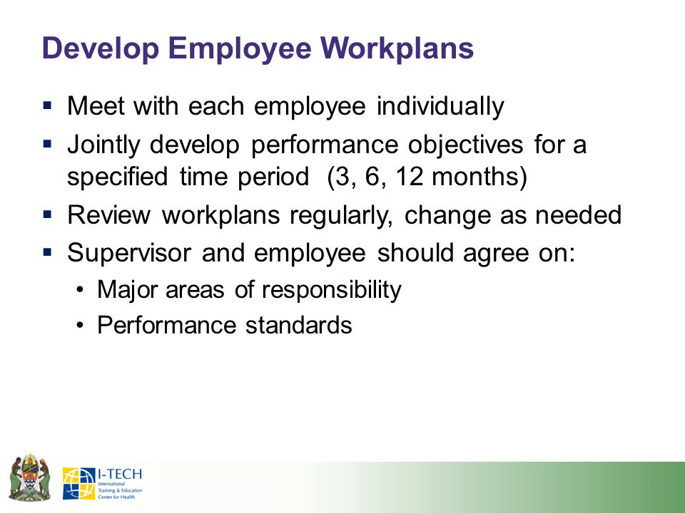 Develop Employee Workplans  Meet with each employee individually  Jointly develop performance objectives for a specified time period (3, 6, 12 month