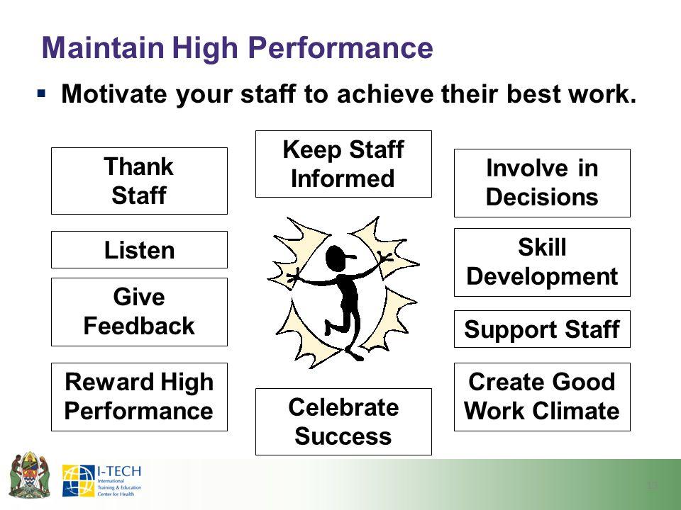 Maintain High Performance  Motivate your staff to achieve their best work. Thank Staff Reward High Performance Listen Skill Development Keep Staff In