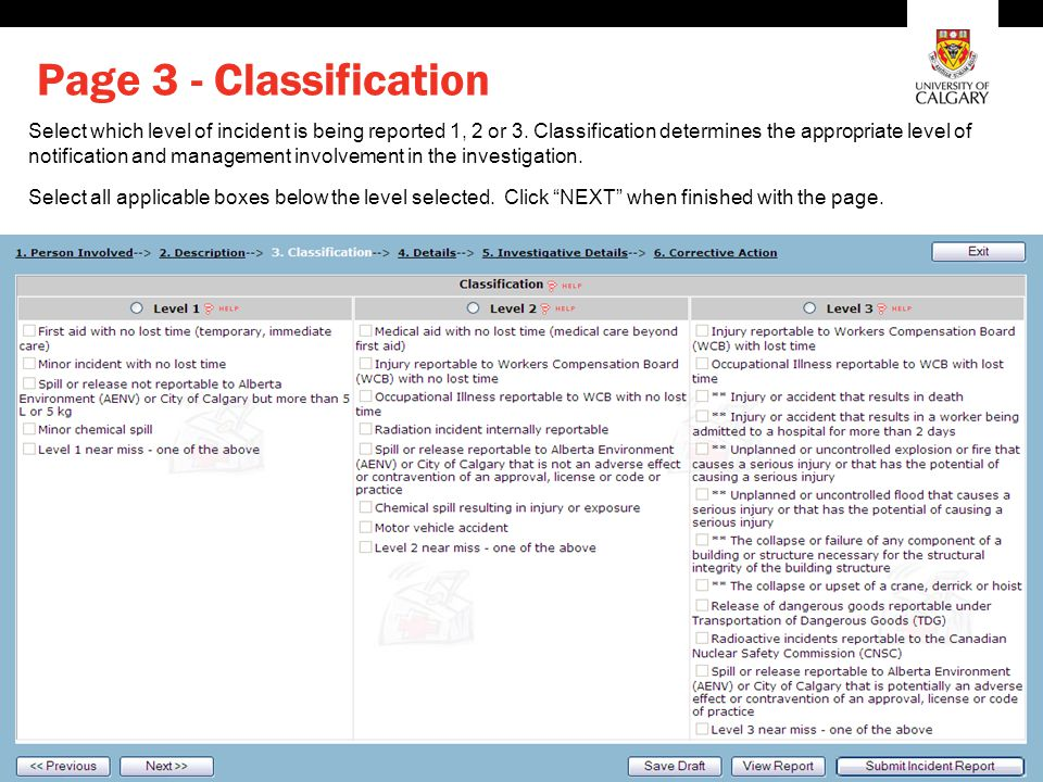 Environment, Health and Safety Page 3 - Classification Select which level of incident is being reported 1, 2 or 3.