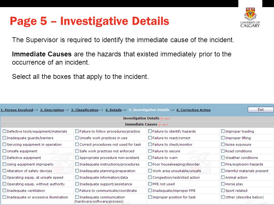 Environment, Health and Safety Page 5 – Investigative Details The Supervisor is required to identify the immediate cause of the incident. Immediate Ca