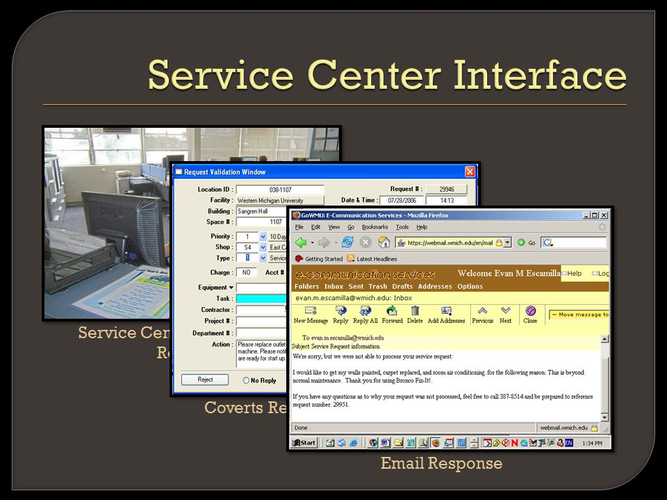 Service Center Receives Web Requests Coverts Request To Work Order Email Response