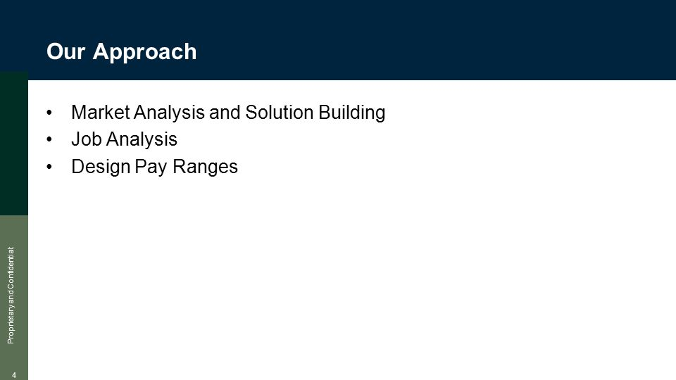 Proprietary and Confidential: 4 Our Approach Market Analysis and Solution Building Job Analysis Design Pay Ranges