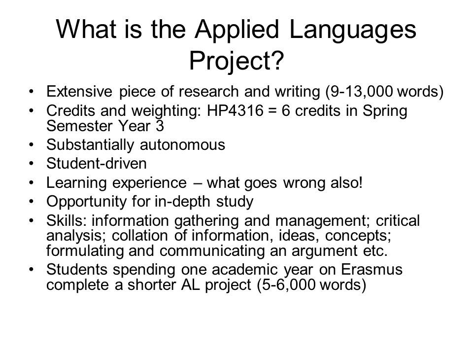What is the Applied Languages Project.