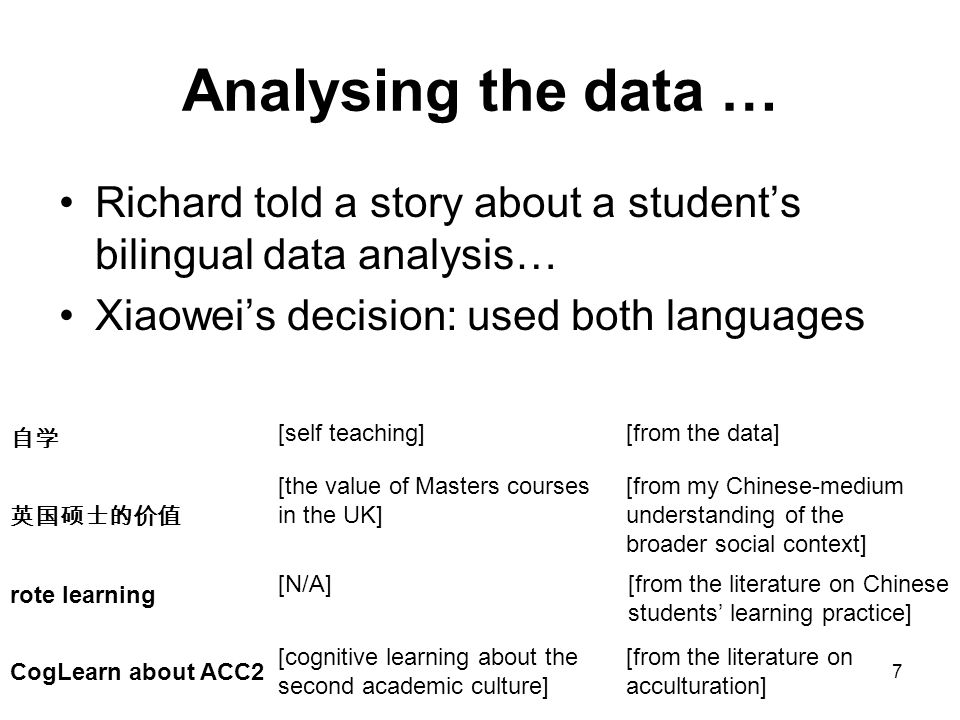 7 Analysing the data … Richard told a story about a student's bilingual data analysis… Xiaowei's decision: used both languages 自学 英国硕士的价值 rote learnin