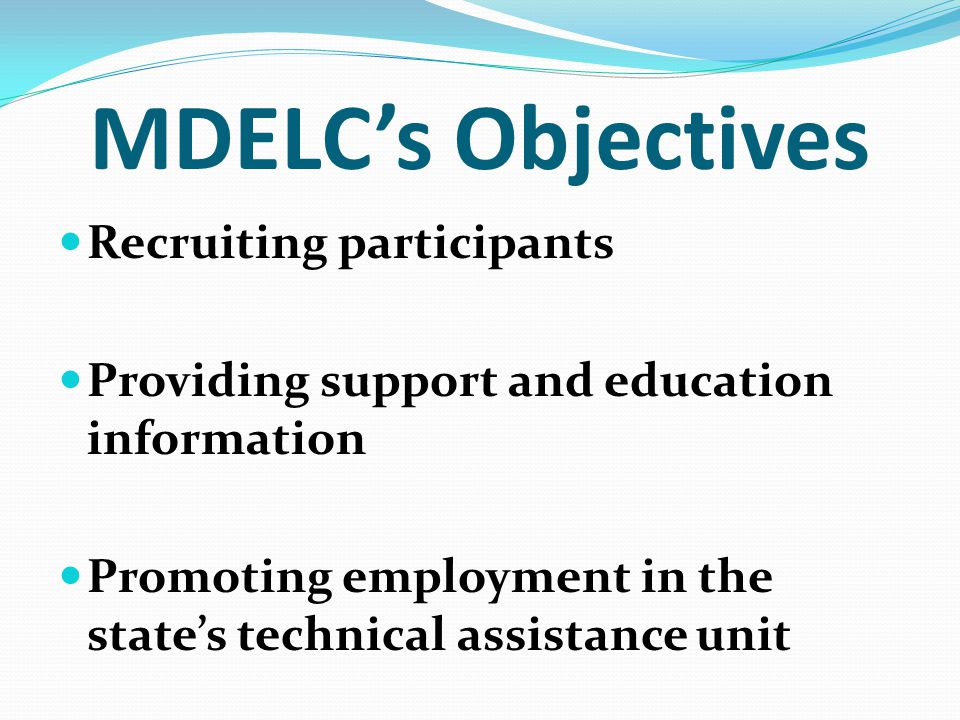 MDELC's Objectives Recruiting participants Providing support and education information Promoting employment in the state's technical assistance unit