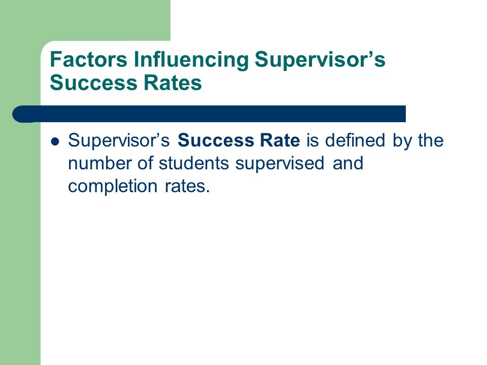 Factors Influencing Supervisor's Success Rates Supervisor's Success Rate is defined by the number of students supervised and completion rates.