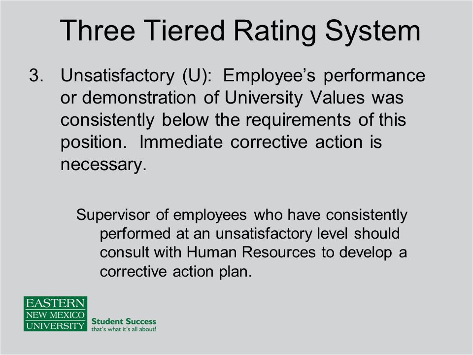 3.Unsatisfactory (U): Employee's performance or demonstration of University Values was consistently below the requirements of this position.