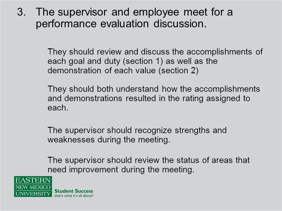 3.The supervisor and employee meet for a performance evaluation discussion.