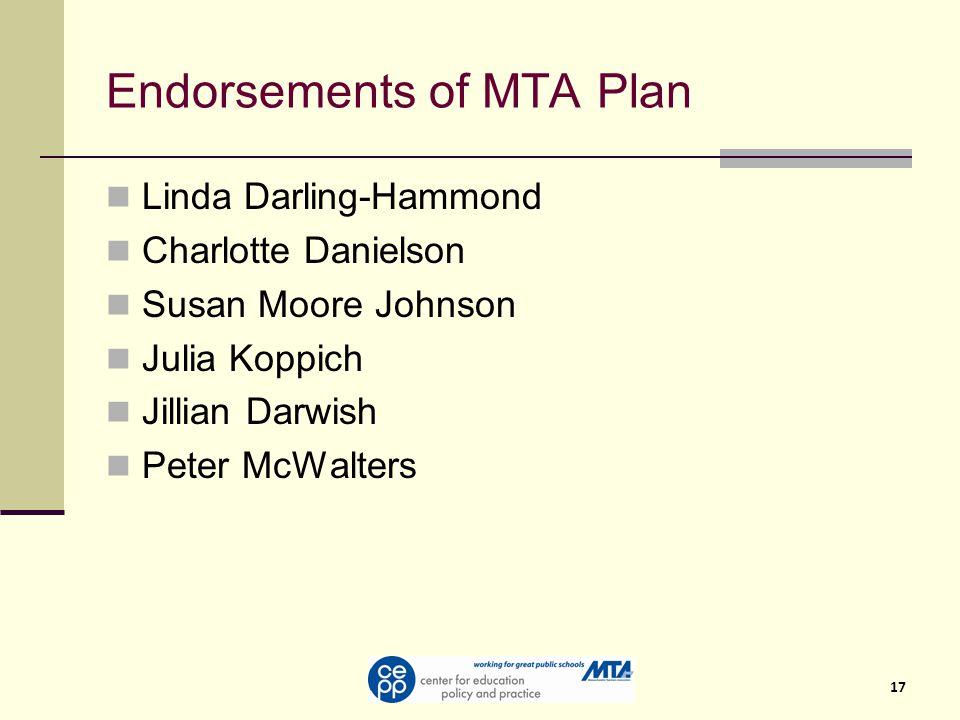 17 Endorsements of MTA Plan Linda Darling-Hammond Charlotte Danielson Susan Moore Johnson Julia Koppich Jillian Darwish Peter McWalters