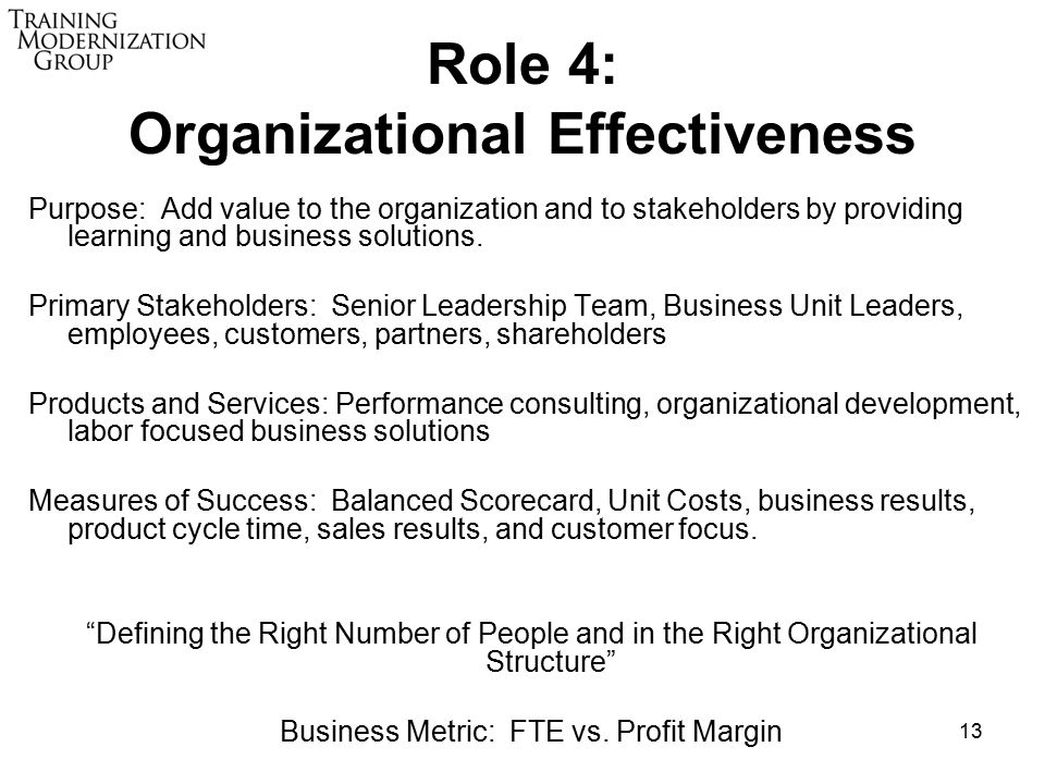 13 Role 4: Organizational Effectiveness Purpose: Add value to the organization and to stakeholders by providing learning and business solutions.