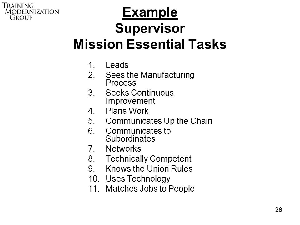 26 Example Supervisor Mission Essential Tasks 1.Leads 2.Sees the Manufacturing Process 3.Seeks Continuous Improvement 4.Plans Work 5.Communicates Up the Chain 6.Communicates to Subordinates 7.Networks 8.Technically Competent 9.Knows the Union Rules 10.Uses Technology 11.Matches Jobs to People