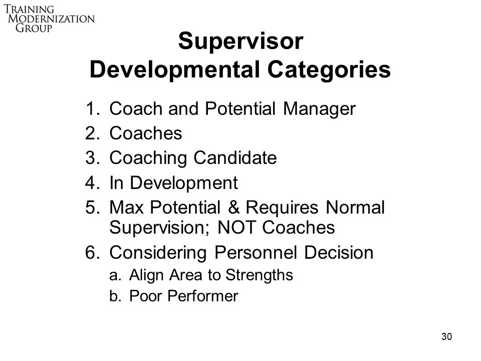 30 Supervisor Developmental Categories 1.Coach and Potential Manager 2.Coaches 3.Coaching Candidate 4.In Development 5.Max Potential & Requires Normal Supervision; NOT Coaches 6.Considering Personnel Decision a.Align Area to Strengths b.Poor Performer
