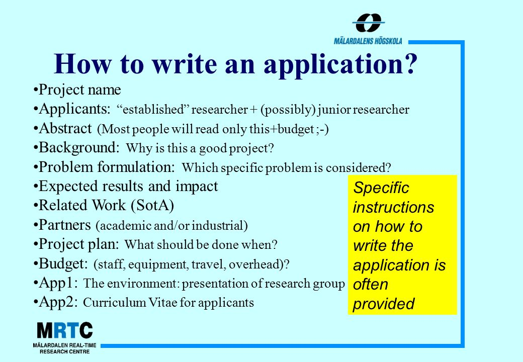 How to write an application.