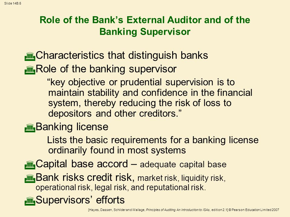 [Hayes, Dassen, Schilder and Wallage, Principles of Auditing An Introduction to ISAs, edition 2.1] © Pearson Education Limited 2007 Slide 14B.6 Relationship Between Banking Supervisor and External Auditor  The supervisor monitors the present and future viability of banks and uses their financial statements in assessing their condition and performance.