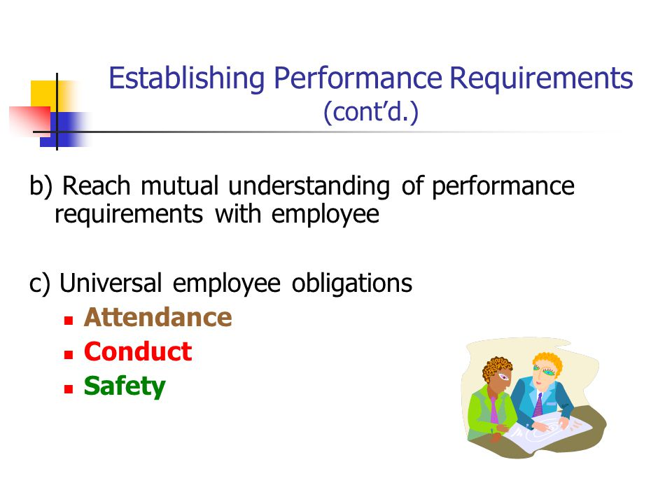 Establishing Performance Requirements (cont'd.) b) Reach mutual understanding of performance requirements with employee c) Universal employee obligations Attendance Conduct Safety