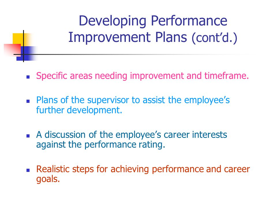 Developing Performance Improvement Plans (cont'd.) Specific areas needing improvement and timeframe.