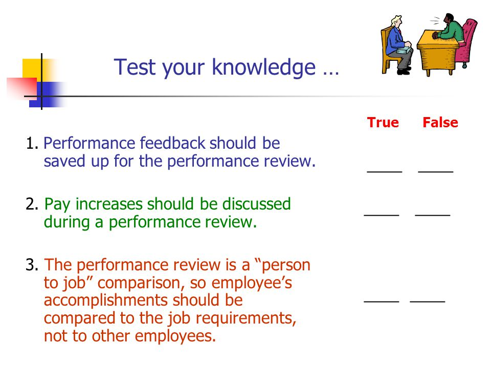 Test your knowledge … 1. Performance feedback should be saved up for the performance review.