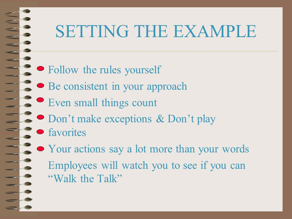 SETTING THE EXAMPLE Follow the rules yourself Be consistent in your approach Even small things count Don't make exceptions & Don't play favorites Your actions say a lot more than your words Employees will watch you to see if you can Walk the Talk