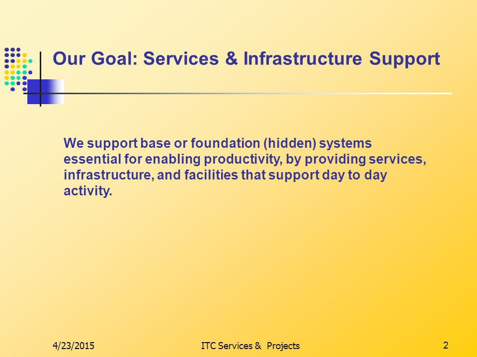 4/23/2015ITC Services & Projects2 Our Goal: Services & Infrastructure Support We support base or foundation (hidden) systems essential for enabling productivity, by providing services, infrastructure, and facilities that support day to day activity.