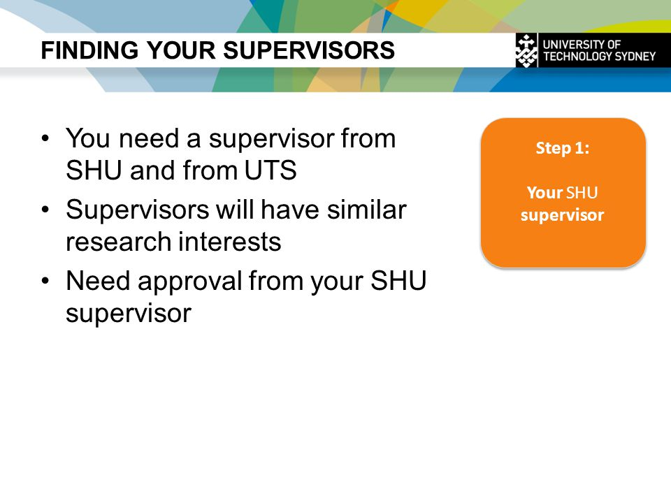 FINDING YOUR SUPERVISORS You need a supervisor from SHU and from UTS Supervisors will have similar research interests Need approval from your SHU supe