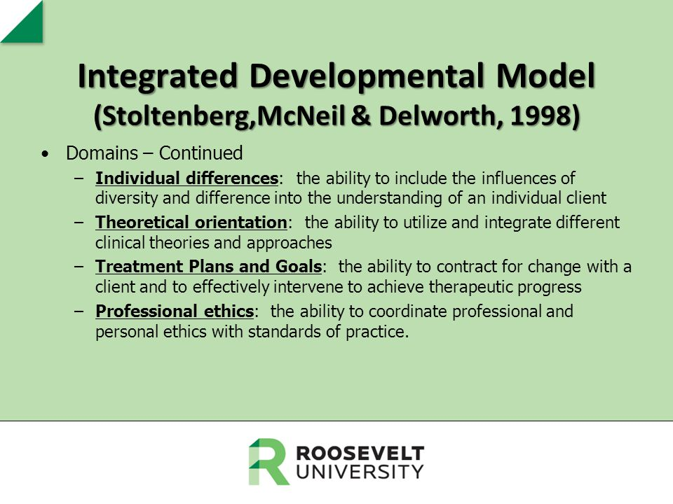 Integrated Developmental Model (Stoltenberg,McNeil & Delworth, 1998) Domains – Continued –Individual differences: the ability to include the influence