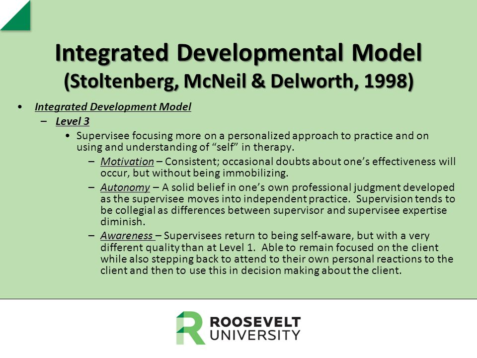 Integrated Developmental Model (Stoltenberg, McNeil & Delworth, 1998) Integrated Development Model –Level 3 Supervisee focusing more on a personalized