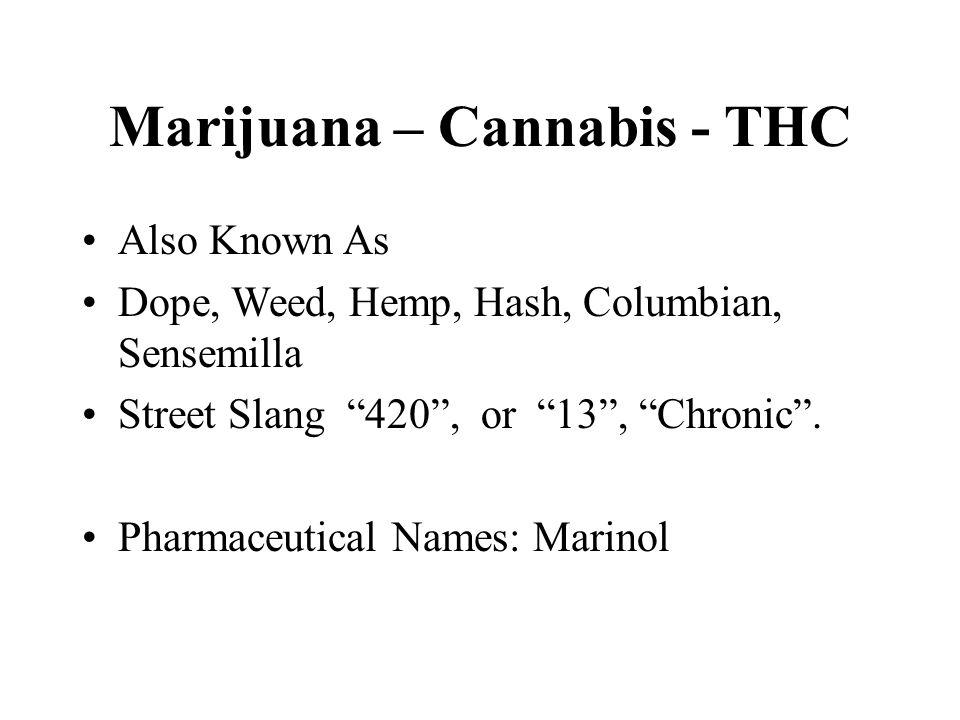 "Marijuana – Cannabis - THC Also Known As Dope, Weed, Hemp, Hash, Columbian, Sensemilla Street Slang ""420"", or ""13"", ""Chronic"". Pharmaceutical Names: M"