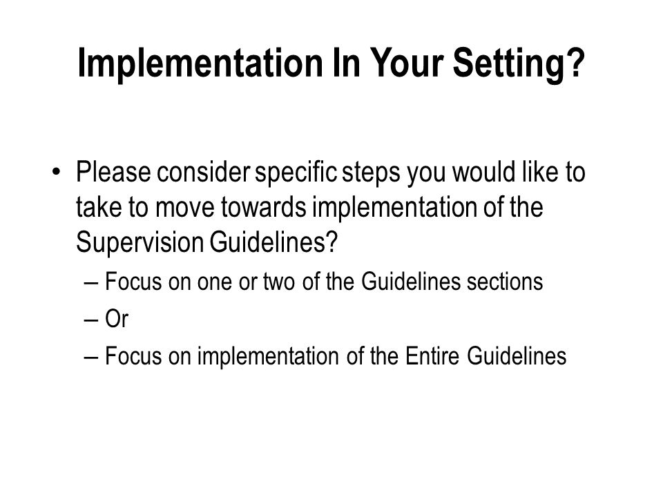 Implementation In Your Setting.