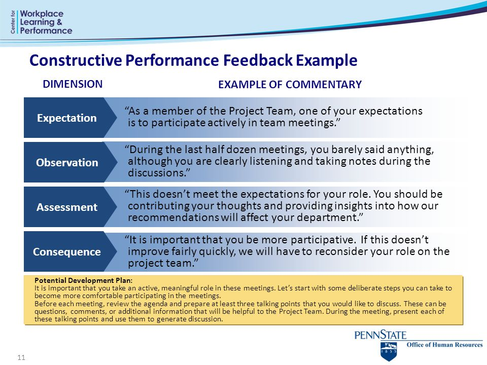 11 Constructive Performance Feedback Example As a member of the Project Team, one of your expectations is to participate actively in team meetings. EXAMPLE OF COMMENTARY During the last half dozen meetings, you barely said anything, although you are clearly listening and taking notes during the discussions. This doesn't meet the expectations for your role.