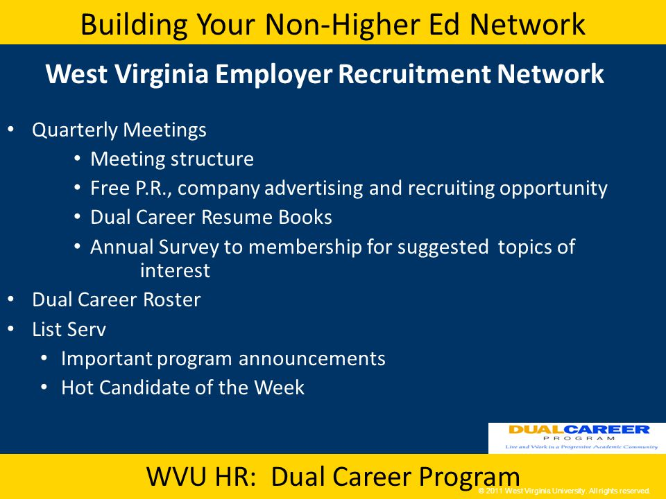 Building Your Non-Higher Ed Network WVU HR: Dual Career Program West Virginia Employer Recruitment Network Quarterly Meetings Meeting structure Free P.R., company advertising and recruiting opportunity Dual Career Resume Books Annual Survey to membership for suggested topics of interest Dual Career Roster List Serv Important program announcements Hot Candidate of the Week © 2011 West Virginia University.