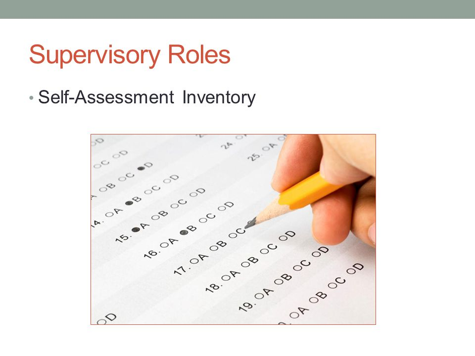 Supervisory Roles Self-Assessment Inventory