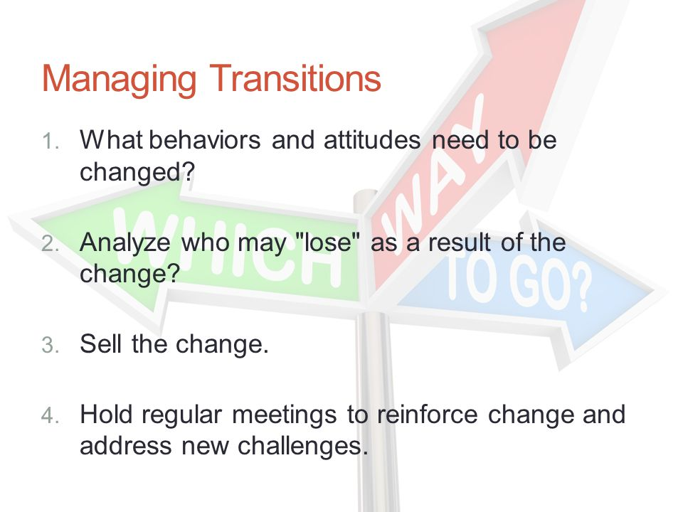 Managing Transitions 1. What behaviors and attitudes need to be changed.