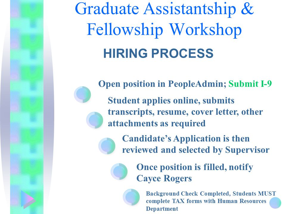 Open position in PeopleAdmin; Submit I-9 Student applies online, submits transcripts, resume, cover letter, other attachments as required Candidate's Application is then reviewed and selected by Supervisor Graduate Assistantship & Fellowship Workshop HIRING PROCESS Once position is filled, notify Cayce Rogers Background Check Completed, Students MUST complete TAX forms with Human Resources Department
