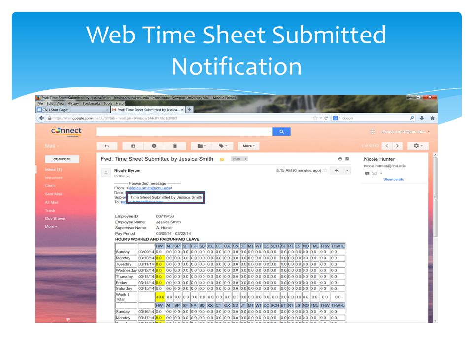 Web Time Sheet Submitted Notification