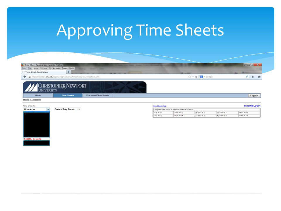Approving Time Sheets