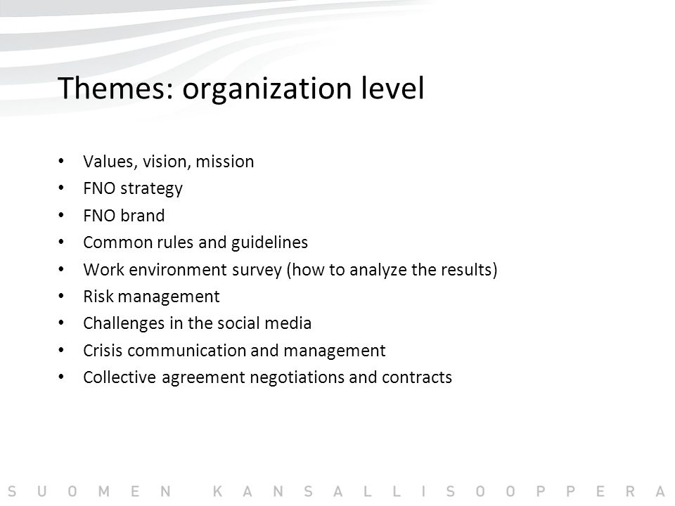 Themes: organization level Values, vision, mission FNO strategy FNO brand Common rules and guidelines Work environment survey (how to analyze the results) Risk management Challenges in the social media Crisis communication and management Collective agreement negotiations and contracts