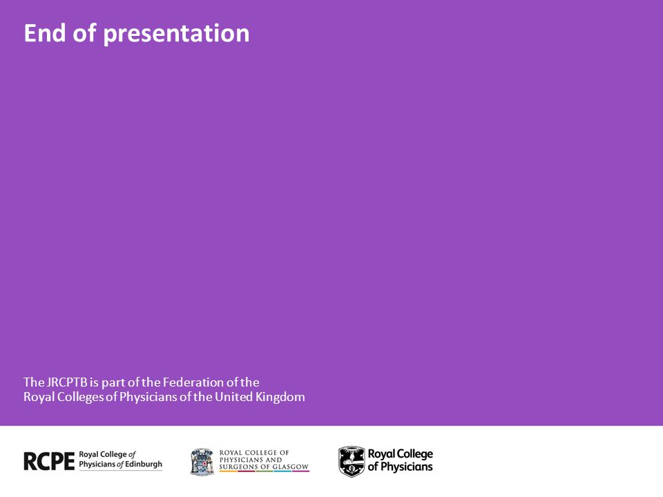 End of presentation The JRCPTB is part of the Federation of the Royal Colleges of Physicians of the United Kingdom