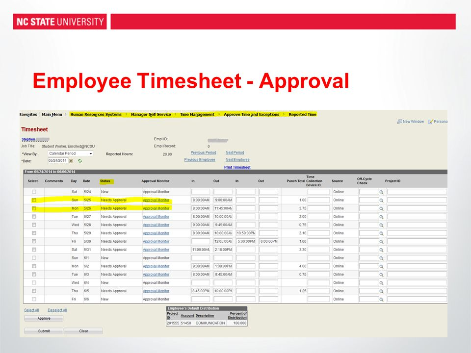 Employee Timesheet - Approval