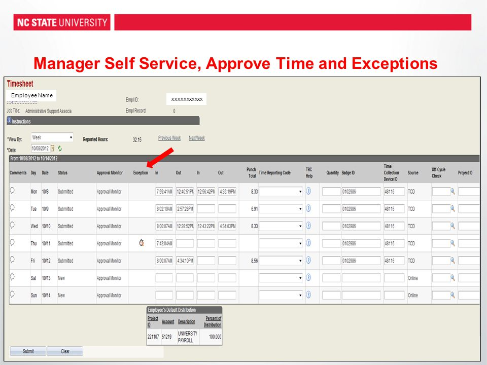 Manager Self Service, Approve Time and Exceptions Employee Name xxxxxxxxxxx