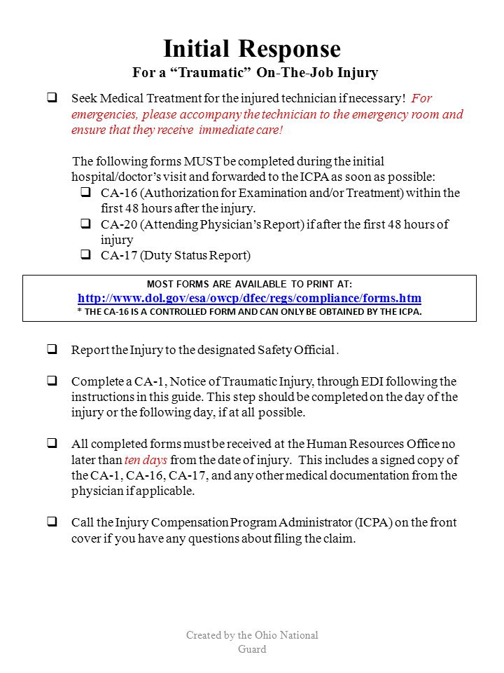 Appendix Created by the Ohio National Guard 1.FECA Benefits 2.Commonly Used OWCP Forms 3.Light Duty Policy Letter: Dated 10 September 2007 4.PT Policy Letter: Dated 1 June 2009 5.Dual Status Technician Compensation Policy Letter: Dated 14 April 2009 6.Limited Duty Memorandum 32