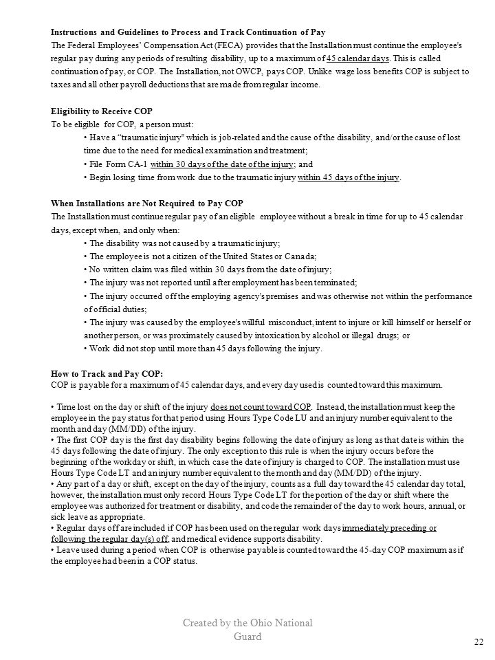 Created by the Ohio National Guard Instructions and Guidelines to Process and Track Continuation of Pay The Federal Employees' Compensation Act (FECA)