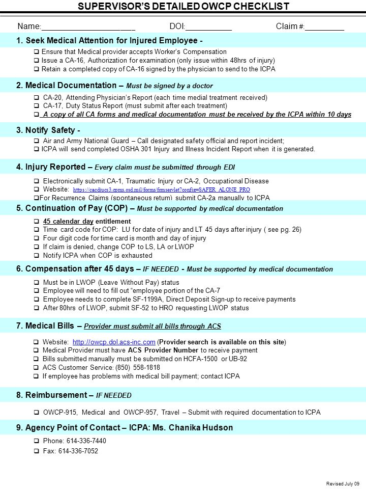 Revised July 09 SUPERVISOR'S DETAILED OWCP CHECKLIST Name :__________________________ DOI :_____________ Claim #:___________ 4. Injury Reported – Ever