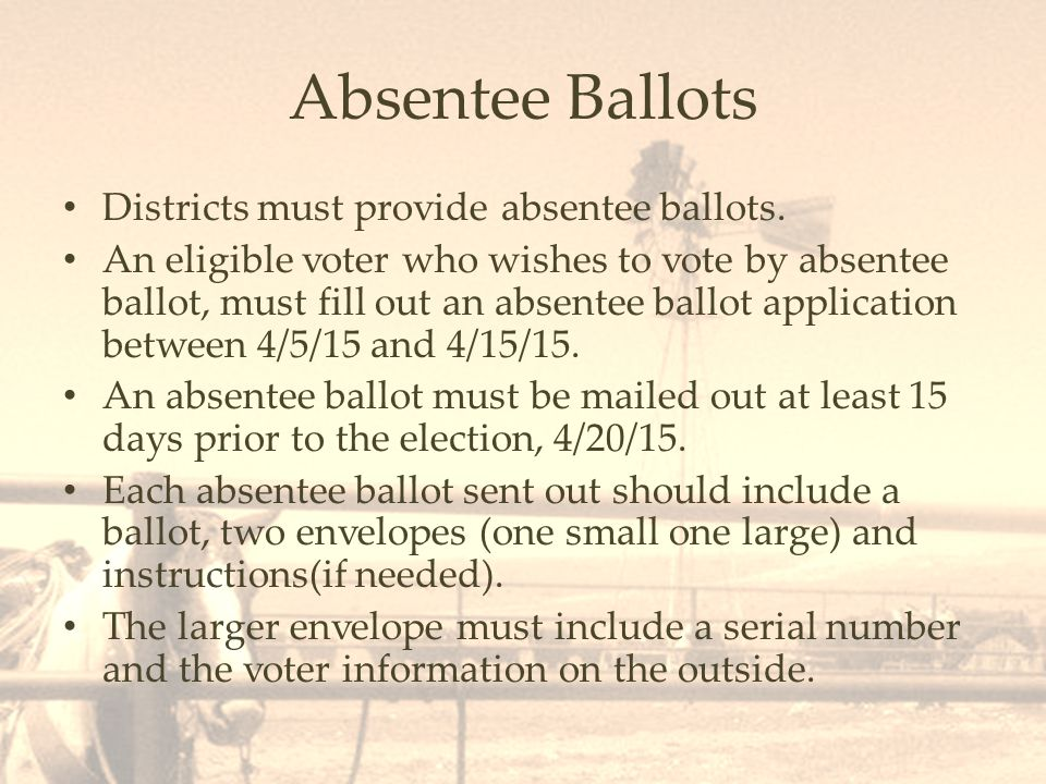 Absentee Ballots Districts must provide absentee ballots.