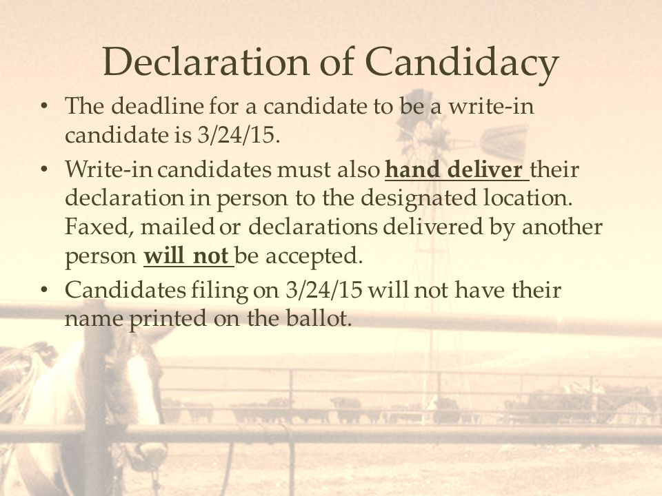 Declaration of Candidacy The deadline for a candidate to be a write-in candidate is 3/24/15.