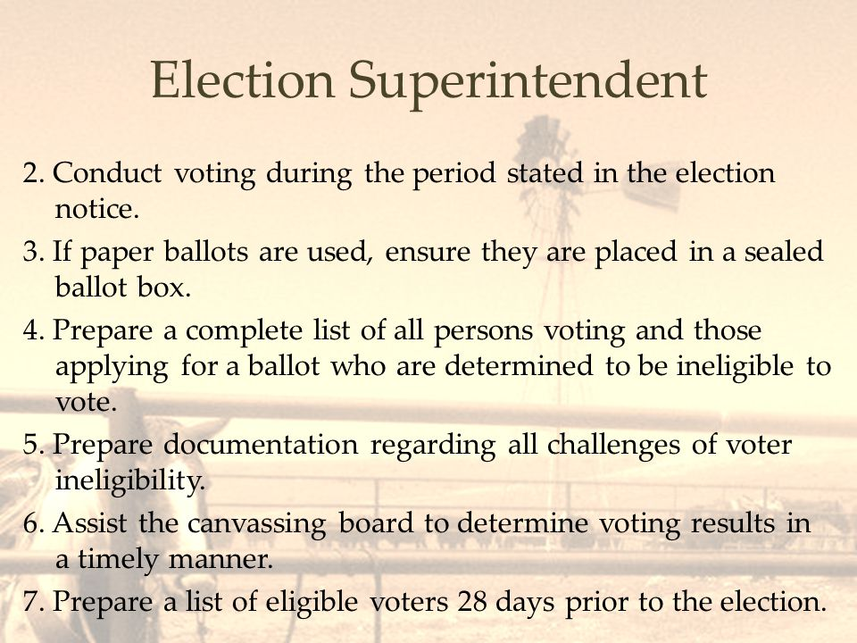 Polling Places The board must decide the number and location of polling places by February.