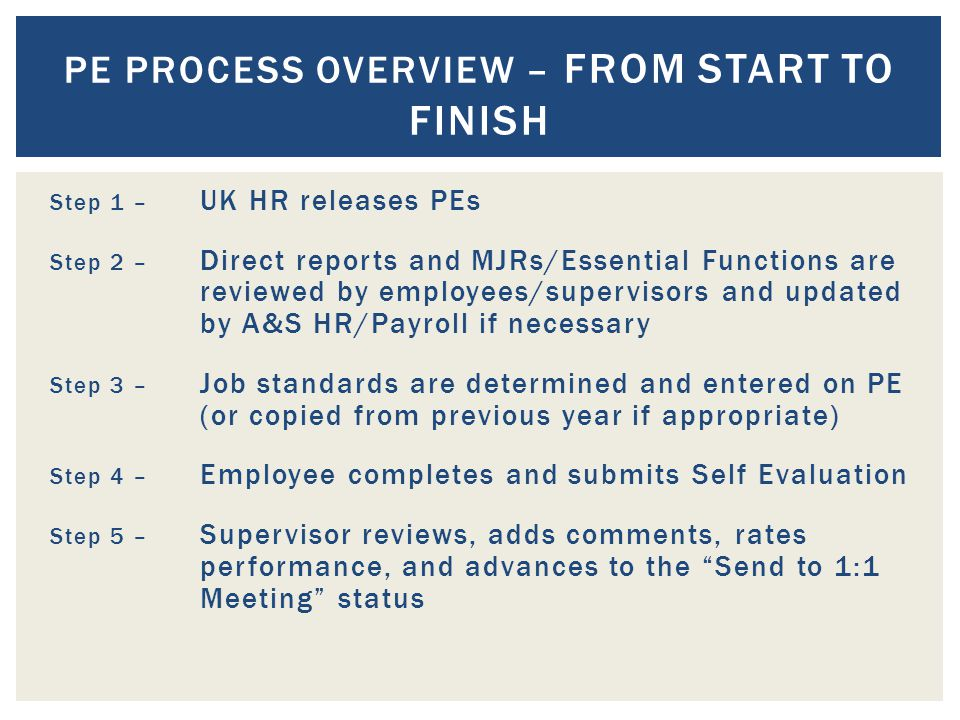 Step 1 – UK HR releases PEs Step 2 – Direct reports and MJRs/Essential Functions are reviewed by employees/supervisors and updated by A&S HR/Payroll if necessary Step 3 – Job standards are determined and entered on PE (or copied from previous year if appropriate) Step 4 – Employee completes and submits Self Evaluation Step 5 – Supervisor reviews, adds comments, rates performance, and advances to the Send to 1:1 Meeting status PE PROCESS OVERVIEW – FROM START TO FINISH