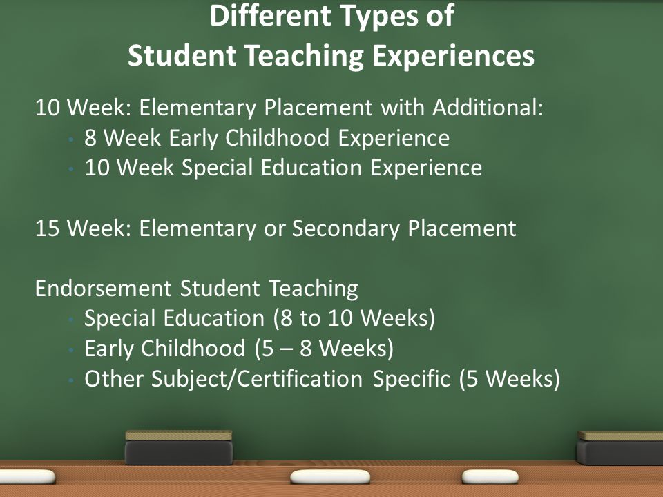 10 Week: Elementary Placement with Additional: 8 Week Early Childhood Experience 10 Week Special Education Experience 15 Week: Elementary or Secondary Placement Endorsement Student Teaching Special Education (8 to 10 Weeks) Early Childhood (5 – 8 Weeks) Other Subject/Certification Specific (5 Weeks) Different Types of Student Teaching Experiences