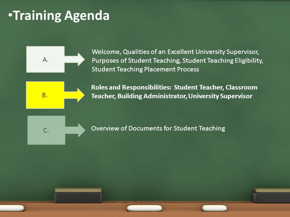 Training Agenda Welcome, Qualities of an Excellent University Supervisor, Purposes of Student Teaching, Student Teaching Eligibility, Student Teaching Placement Process Roles and Responsibilities: Student Teacher, Classroom Teacher, Building Administrator, University Supervisor A.
