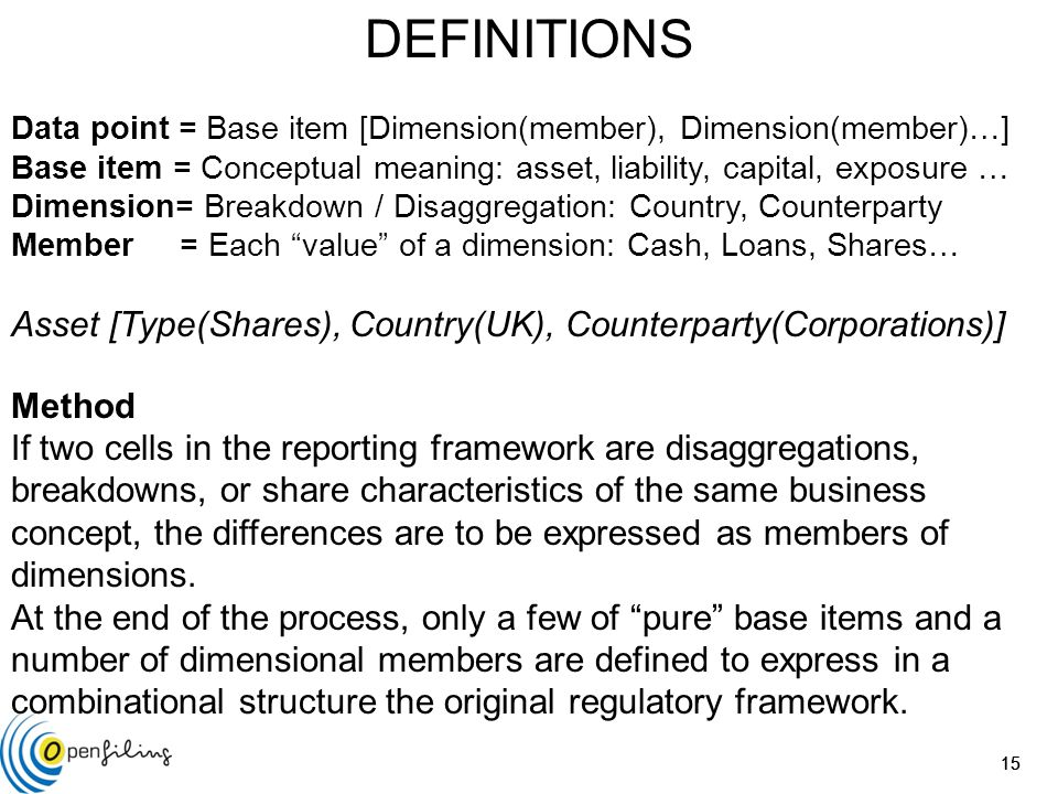 15 DEFINITIONS Data point = Base item [Dimension(member), Dimension(member)…] Base item = Conceptual meaning: asset, liability, capital, exposure … Dimension= Breakdown / Disaggregation: Country, Counterparty Member = Each value of a dimension: Cash, Loans, Shares… Asset [Type(Shares), Country(UK), Counterparty(Corporations)] Method If two cells in the reporting framework are disaggregations, breakdowns, or share characteristics of the same business concept, the differences are to be expressed as members of dimensions.